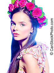 natural beauty - Fashion shot of a beautiful girl in a ...