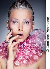 Natural beauty - fashion woman face, bright make up