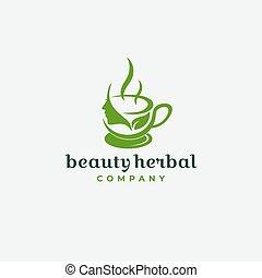 Natural Beauty Herbal Drink Tea Logo Design
