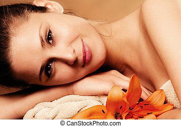 natural beauty - smiling natural beautiful woman in spa...