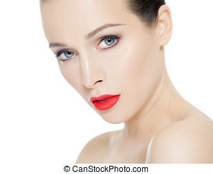 Natural Beauty With Coral Lips