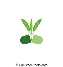 natural bio capsule pill herbal logo icon