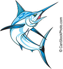 natural blue marlin on the white background