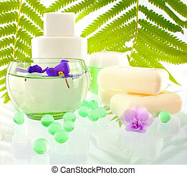 Natural body cosmetics for bathing on fern leaves background