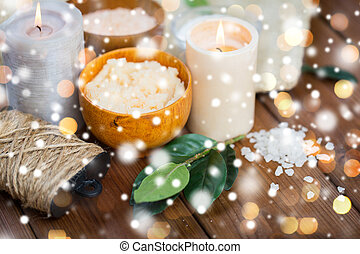 natural body scrub and candles on wood - beauty, spa,...