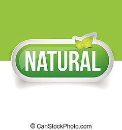 natural, botão, verde, com, folha
