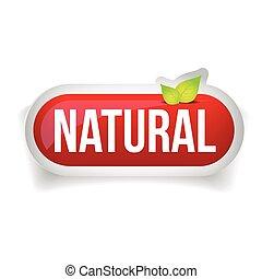 natural, botão, vetorial, com, folhas