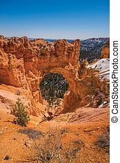 Natural Bridge Arch In Bryce Canyon National Park. Southern ...