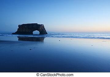 natural bridge in the sea at Santa Cruz, California