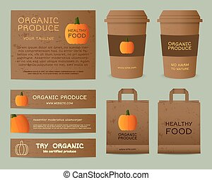 Natural business corporate identity design with pumpkin. Branding your organic company. Paper bag, cup. Mock up design. Best for natural shop, organic fairs, eco markets and local companies. Vector