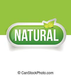Natural Button green with leaf