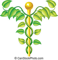 Natural caduceus concept, can be used for natural or ...