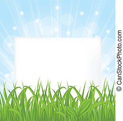 Natural card with green grass and paper sheet