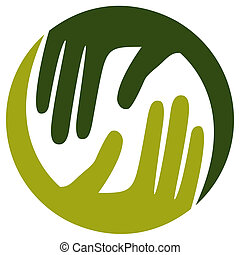 Natural caring hands design. - Caring hands in a circular...