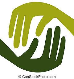 Natural caring hands.  - Natural caring hands design.