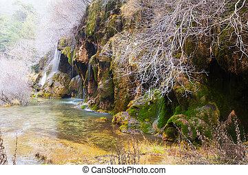 natural, cascada, río