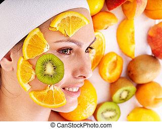 natural, caseiro, fruta, máscaras faciais, .