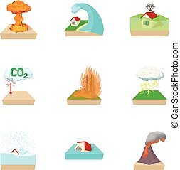 Natural cataclysm icons set, cartoon style
