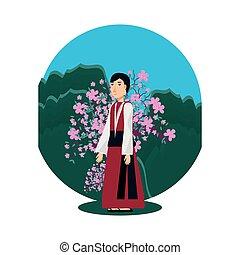 natural, chinês, árvore, ícone, paisagem, homem