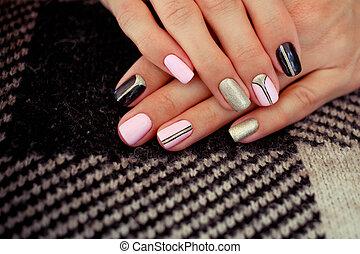 natural, clavos, gel, polish., elegante, clavos, nailpolish., clavo, arte, diseño, para, el, moda, style.