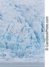 close-up front of Vatnajokull glacier with Fjallsarlon lagoon
