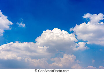 Natural cloudscape with vast blue sky and cumulus white cloud