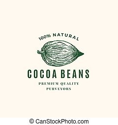Natural Cocoa Beans Abstract Vector Sign, Symbol or Logo...