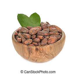 Natural cocoa beans - Cocoa beans isolated on white...