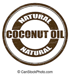 Natural coconut oil - Stamp with text coconut oil inside,...