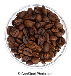 Natural coffee beans heap in transparent glass bowl, isolated on white