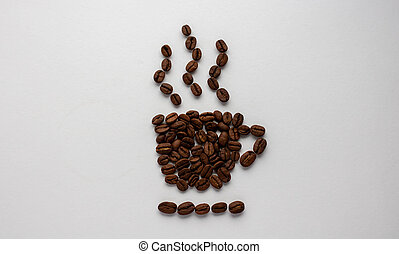 Natural coffee beans. Isolated on a white background