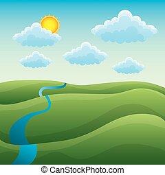 natural, colinas, sol, paisagem verde, rio, caricatura, nuvem