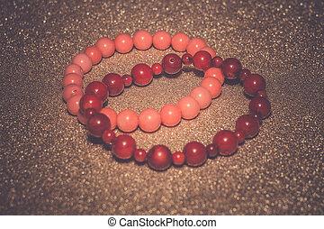 natural, coral, pulsera