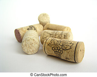Natural cork wine stoppers on white background