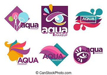Natural cosmetics, aqua makeup isolated icons, cosmetic ...