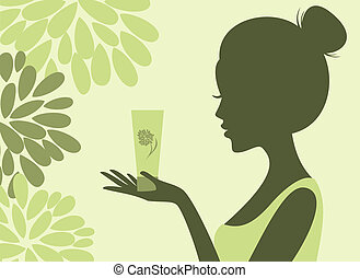 Natural Cosmetics - Illustration of a young woman holding a ...