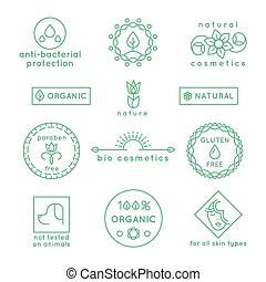 Natural cosmetics line vector icons and badges set