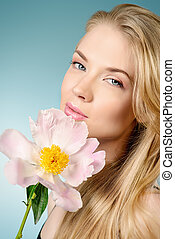 natural cosmetics - Smiling young woman with natural make-up...