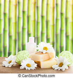 Natural cosmetics concept: soap and cream