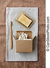 wooden toothbrush, handmade soap cotton swabs