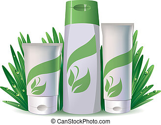 Natural cosmetics - Tubes of cosmetics on the fresh grass. ...