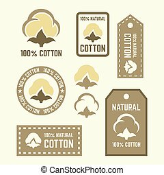 Natural cotton vector labels and design elements