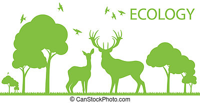 Natural deer ecology concept vector background landscape