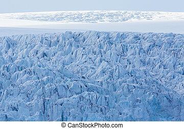 details of Esmarkbreen glacier crevasses in Spitsbergen