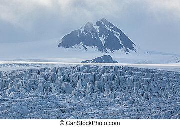 details of Esmarkbreen glacier crevasses in Svalbard