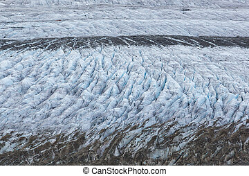 details of glacier Aletsch surface with crevasses