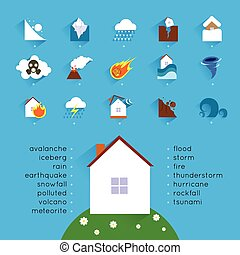 Natural disaster accident concept with danger icons set and house vector illustration