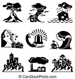 natural disaster - set vector silhouette icons of natural...