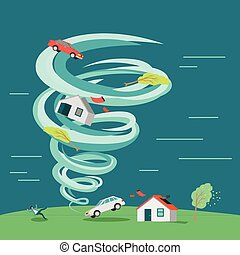Natural Disaster Flat Design Vector Illustration