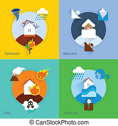 Natural disaster flat set with tornado blizzard fire tsunami isolated vector illustration